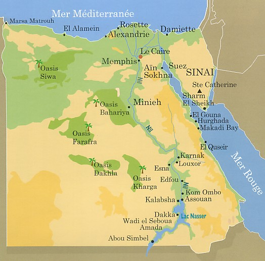 Egypte   Croisière sur le Nil   Carte géographique