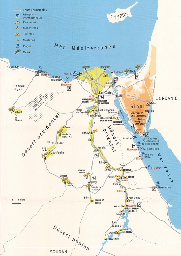 Egypte   Croisière sur le Nil  Carte géo 2